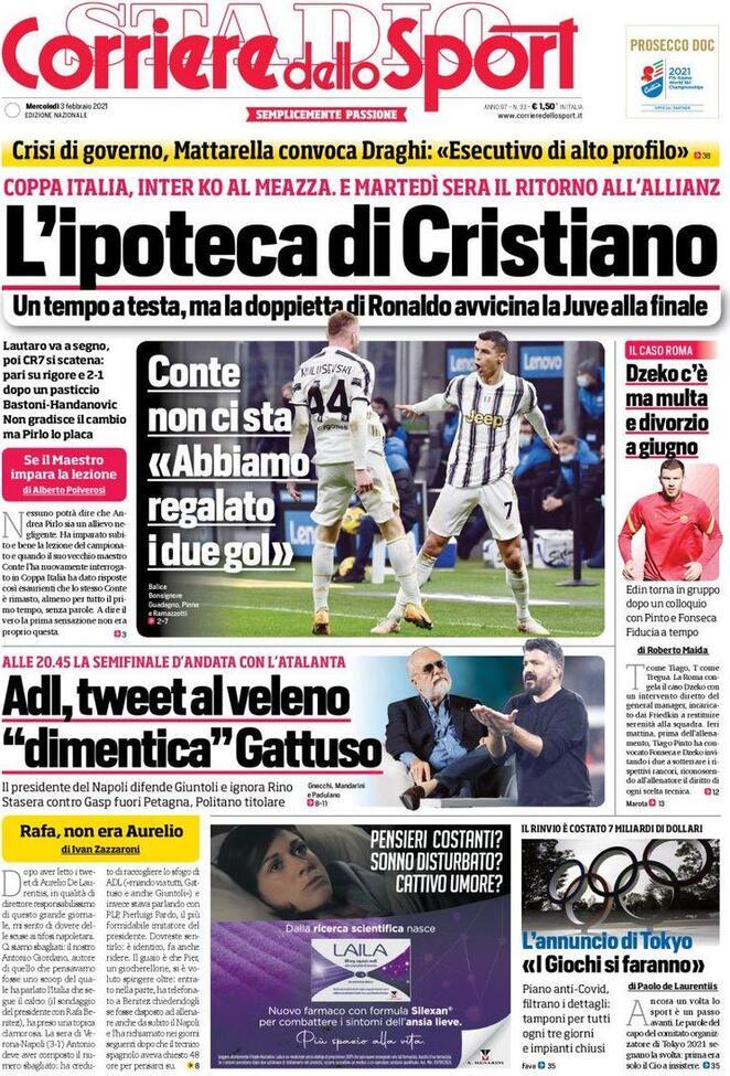 La prima pagina del Corriere dello Sport del 3 febbraio 2021