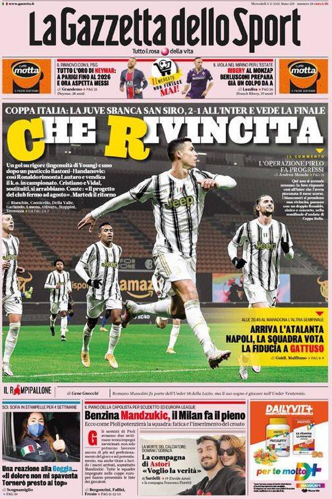 La prima pagina della Gazzetta dello Sport