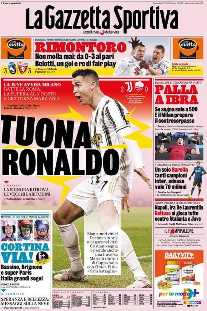 La prima pagina della Gazzetta dello Sport del 7 febbraio 2021